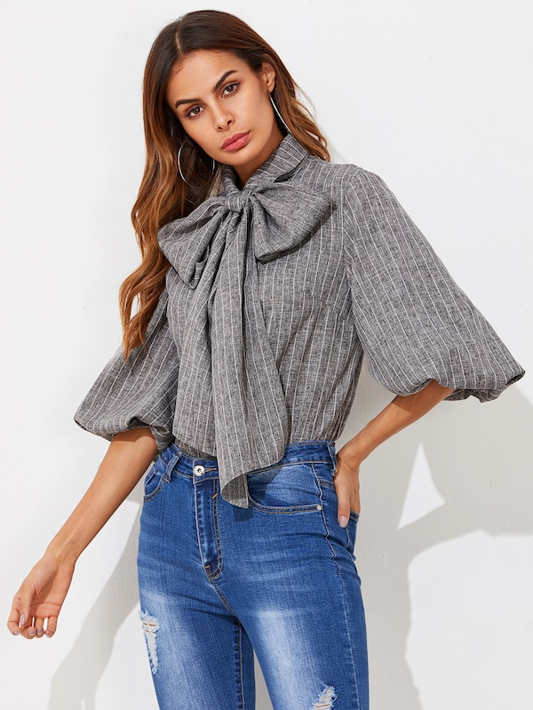 Exaggerated Lantern Sleeve Tied Neck Striped Blouse | SHEIN