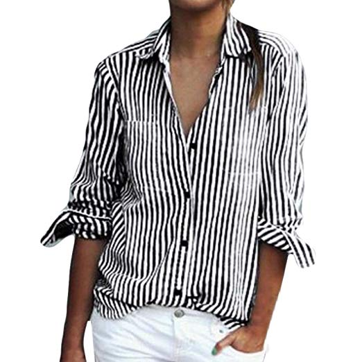 Mikey Store Women Summer Long Sleeve Striped Shirts Casual Button