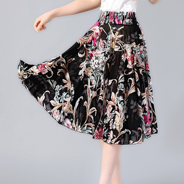 SNOW PINNACLE Summer skirt Fashion Flower Red Roses print women A