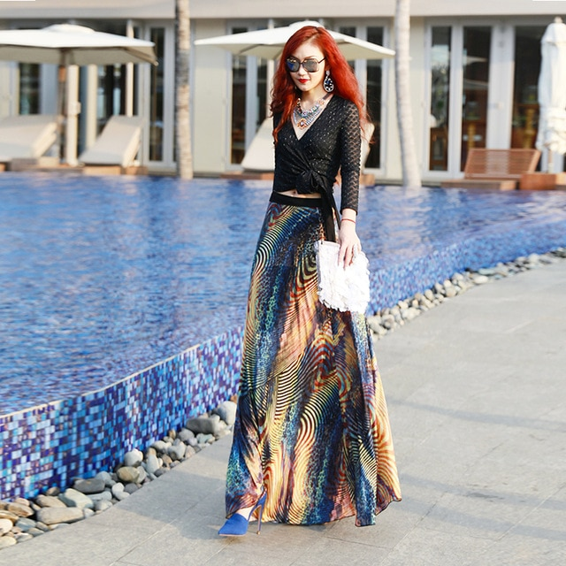 Clearance ! Fashion Women's Long Summer Skirt Vintage Print Stretch