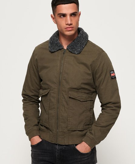 Mens - Rookie Winter Aviator Bomber Jacket in Military Khaki | Superdry