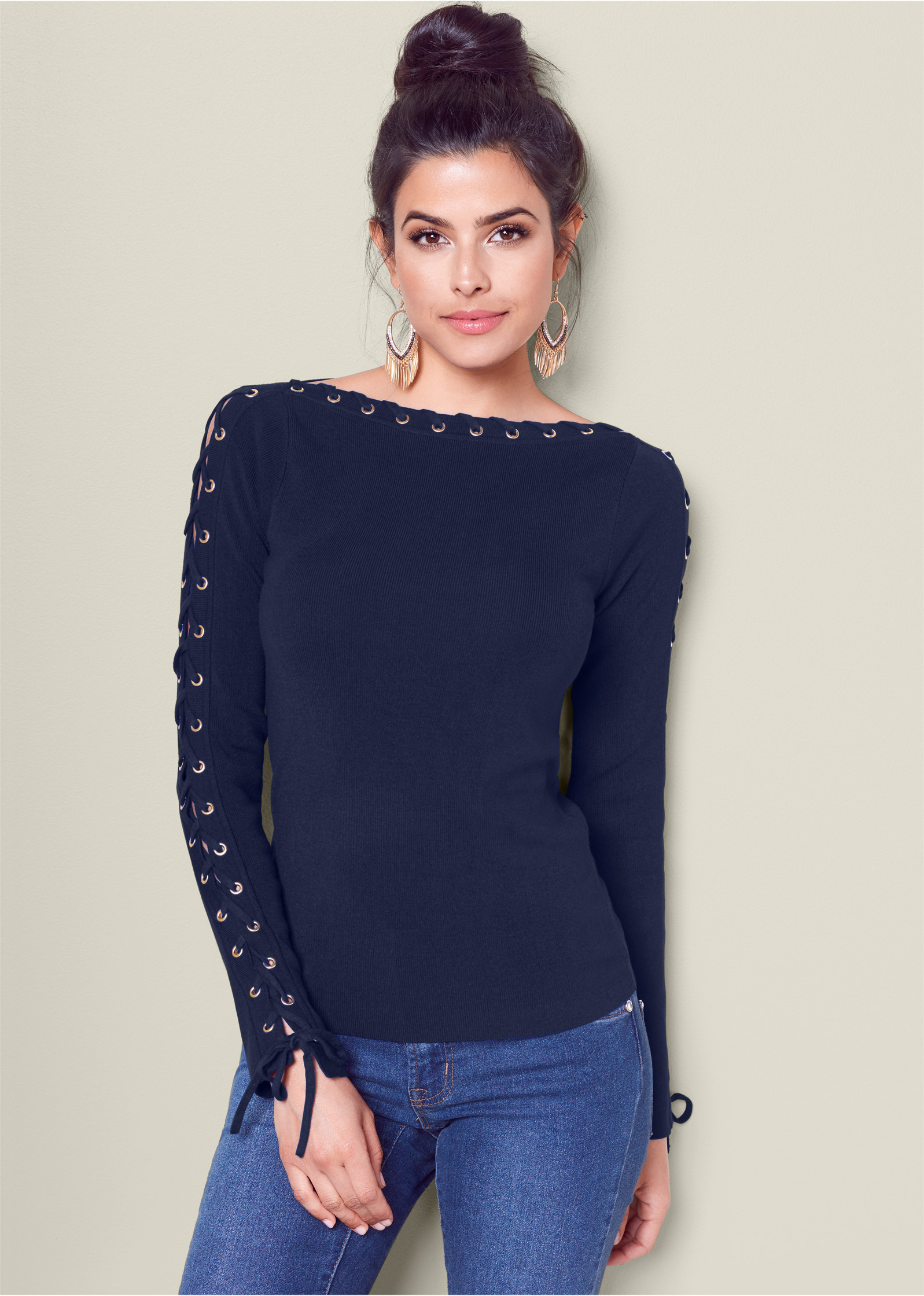 VENUS | LACE UP BOAT NECK SWEATER in Navy