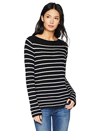 Amazon.com: Cable Stitch Women's Boat Neck Striped Sweater: Clothing
