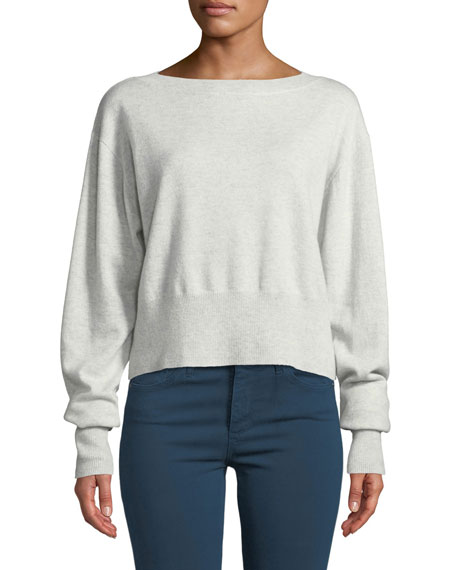 Autumn Cashmere Cropped Boxy Boat-Neck Cashmere Sweater In