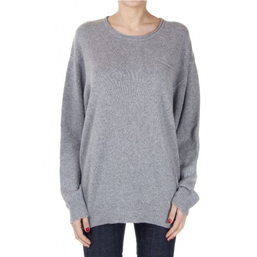 Cashmere Round Neck Sweater with Breast Pocket 100% CASHMERE Breast