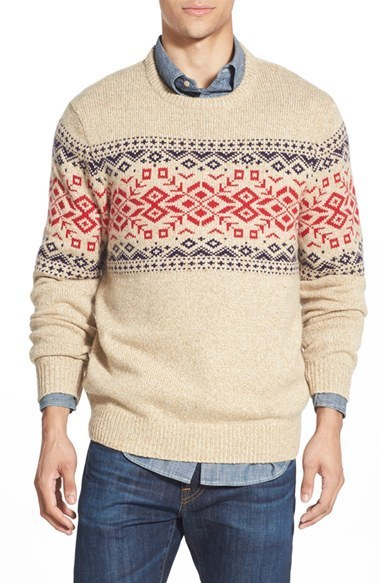 Vineyard Vines Rag Fair Isle Crewneck Sweater With Suede Elbow