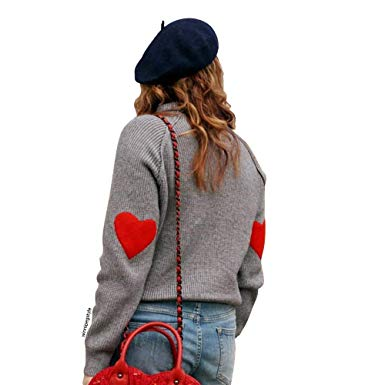 Chicwish Women's Comfy Casual Long Sleeve Heart Shape Patched Grey