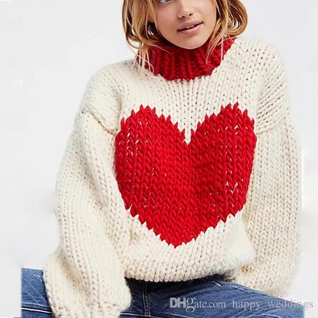 2019 Fashion Blogger Red Heart Sweaters Women Round Neck Long Sleeve