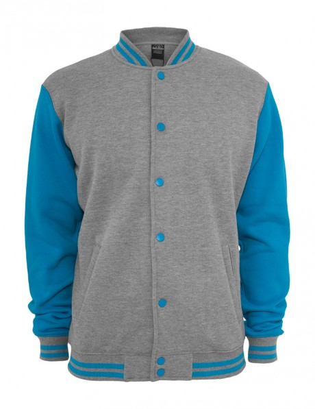 Kids 2-tone College Sweatjacket Grey | Yukka.co.uk