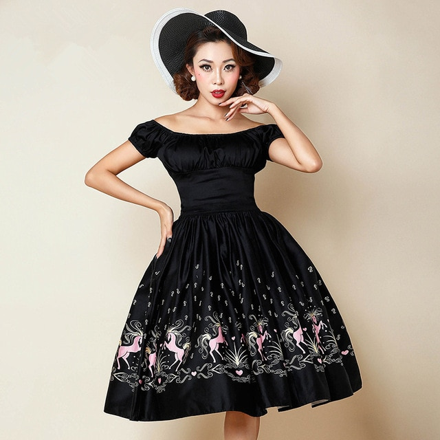 30 summer women 50s vintage rockabilly pinup puff sleeve swing dress