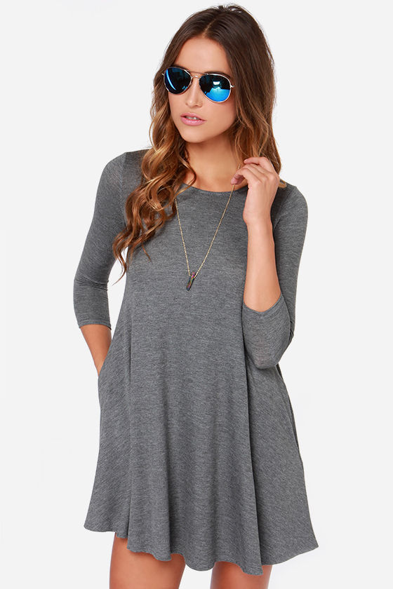 Chic Grey Dress - Swing Dress - Three Quarter Sleeve Dress - $44.00