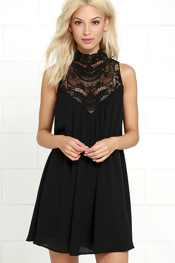 Black Dress - LBD - Lace Dress - Swing Dress - $48.00