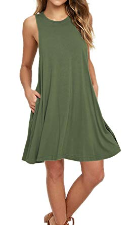 AUSELILY Women's Sleeveless Pockets Casual Swing T-Shirt Dresses at