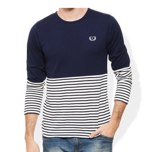 Navy/white Round Men''s Fancy T-Shirt, Packaging Type: 4 Fold With