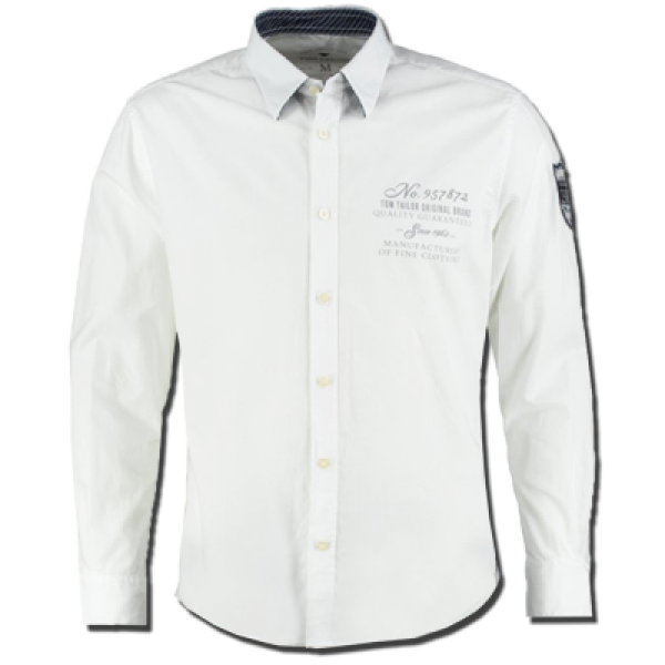 Tom Tailor Long Sleeve Shirt In White | Malaabes Online Shopping