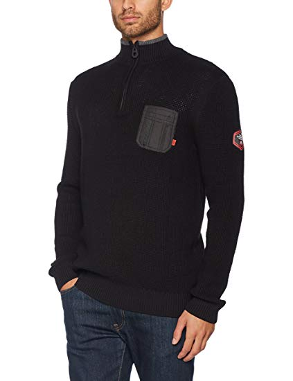 Tom Tailor Men's Structured Sweater with Nylon Jumper: Amazon.co.uk