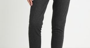 TOM TAILOR HERRINGBONE LOOSE FIT PANTS - Trousers dark charcoal grey