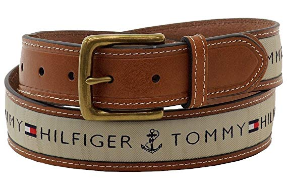 Tommy Hilfiger Men's Leather Casual Belt with Fabric Inlay, 44 at