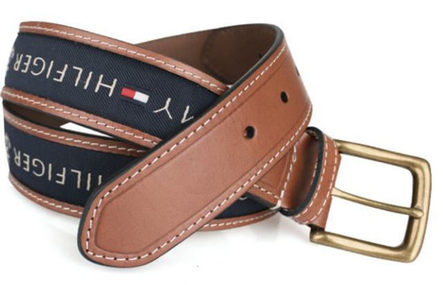 Tommy Hilfiger Men's Ribbon Strap Inlay Anchor Logo Leather Belt