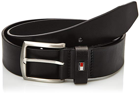 Tommy Hilfiger Men's New Denton Belt Logo Belt, Black at Amazon