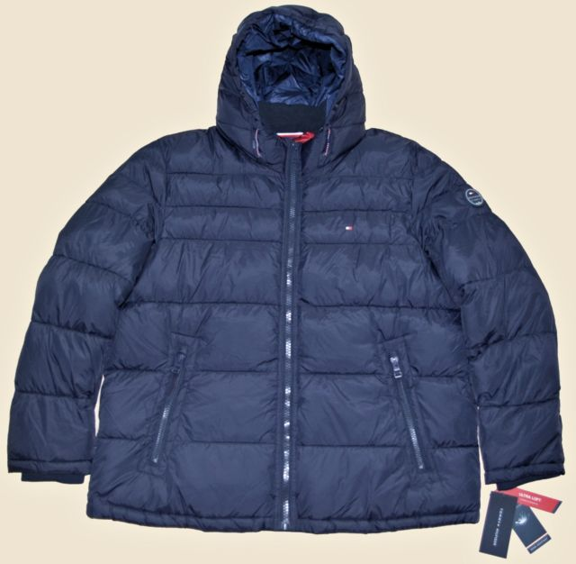 Large Tommy Hilfiger Mens Quilted Padded Puffer Winter Jacket Coat