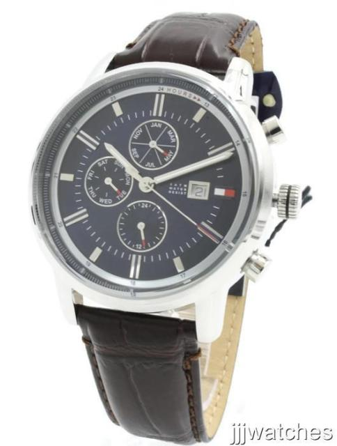 Tommy Hilfiger Men Multifunction Brown Leather Watch 44mm 1791244