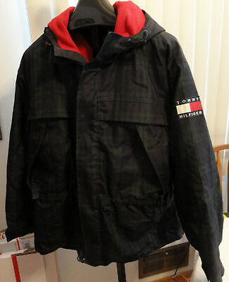 TOMMY HILFIGER L Winter Jacket Coat Hood Plaid Vintage 90s Green w