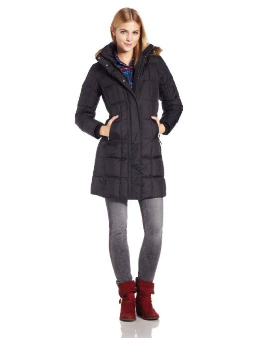 Tommy Hilfiger Women's Long Hooded Down Coat with Gros Grain Trim