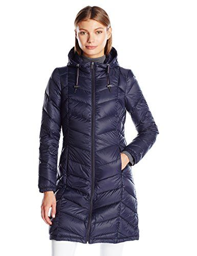 Tommy Hilfiger Women's Long Hooded Packable Down Coat with Contrast