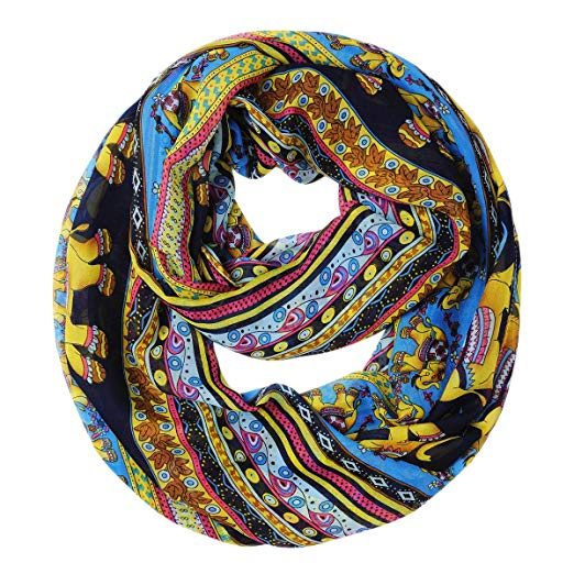 Tribal Lucky Elephant Scarf Infinity Loop Circle Scarf Tube Scarves