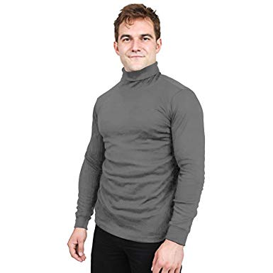 Utopia Wear Premium Cotton Blend Interlock Turtleneck Men T-Shirt at