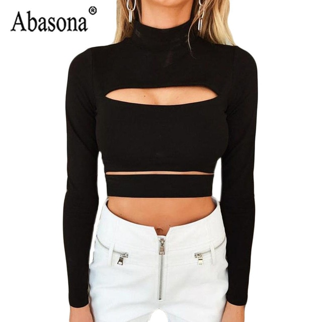 Abasona Black Women Long Sleeve Turtleneck Shirt Woman Hollow Out