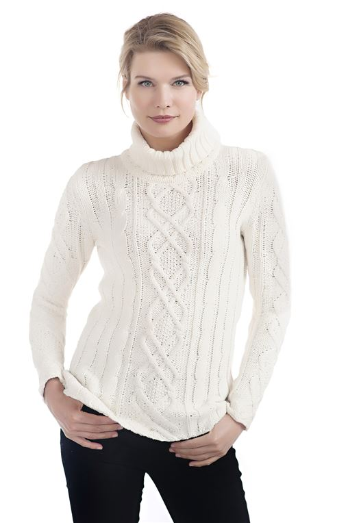 Ivory Cable Knit Turtleneck Sweater | Womens Faux Fur Clothing