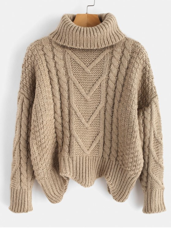 49% OFF] 2019 Chunky Knit Turtleneck Sweater In LIGHT KHAKI ONE SIZE
