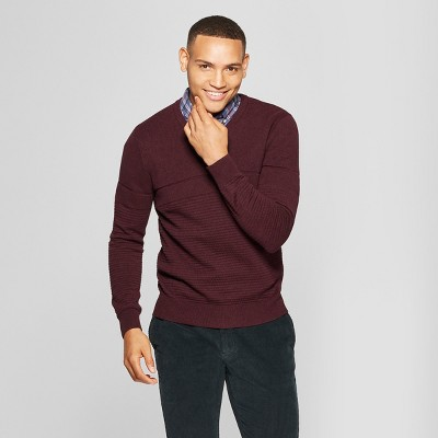 Men's Long Sleeve V-Neck Sweater - Goodfellow & Co™ Burgundy Heather
