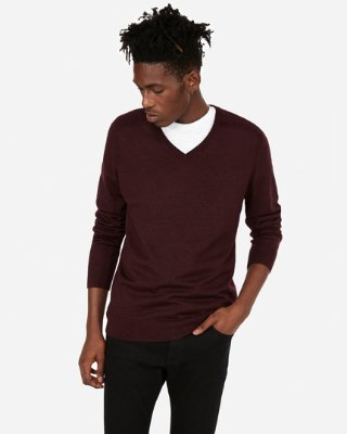 Merino Wool-blend Thermal Regulating V-neck Sweater | Express