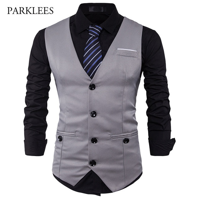 Men Suit Vest Classic V Collar Dress Slim Fit Wedding Waistcoat Mens