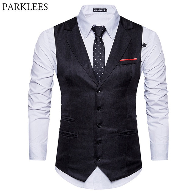 Fashion Turn down Collar Single Breasted Suit Vest Men 2018 Casual