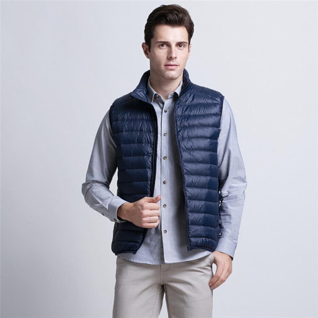 2018 New Spring Down Vest Men Casual Slim Sleeveless Jacket Winter