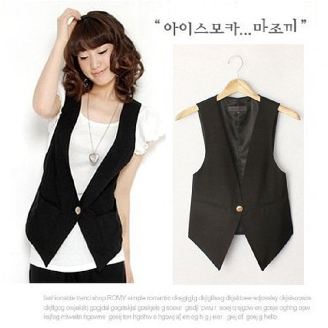 Women's High Quality Solid Black Cool Vests Summer Plus Size Suit