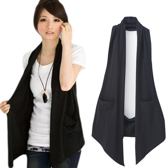 New Spring 2018 Women's All match Slim Black Colete Vest Women