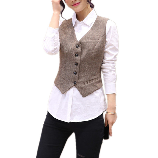 Vintage Short Women's Vest V Neck Brief Work Vests Fashion Waistcoat