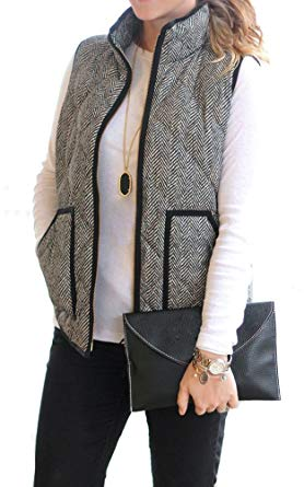 MEROKEETY Women's Slim Fall Quilted Herringbone Puffer Vest with
