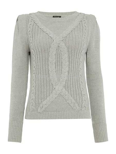 Knitwear: Clearance Vila Knitted Long Sleeve Jumper Grey | Nwbs.com.au