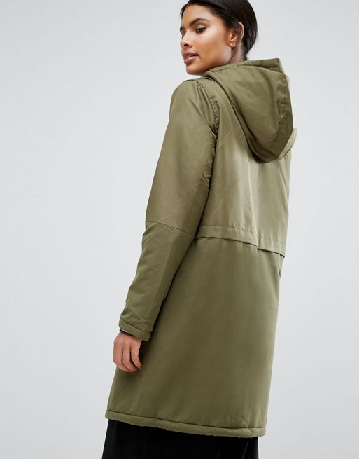 Vila Padded Button Front Coat Ivy green Women Coats,vila winter