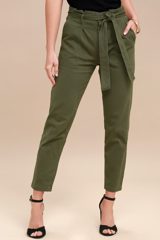 Chic Olive Green Pants - Cropped Pants - Tie-Waist Pants