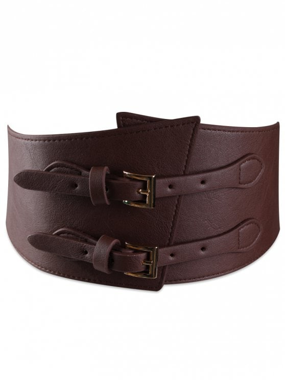 18% OFF] 2019 Metal Buckle Two Holes Decoration Wide Waist Belt In