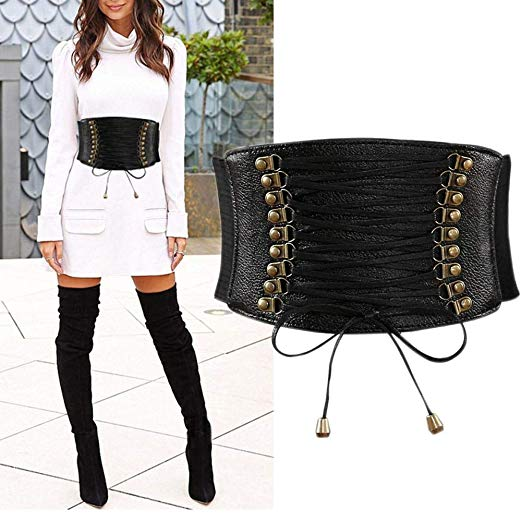 Womens PU Leather Belt High Waist Cincher Belt Corsets for Waist