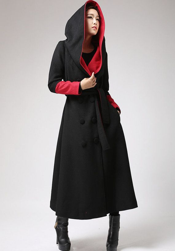 oversized coat, Long wool coat, Black and Red, trench coat, long