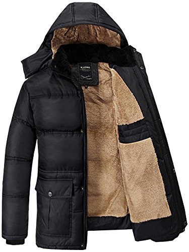 Fashciaga Men's Hooded Faux Fur Lined Quilted Winter Coats Jacket at